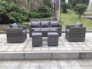 Neuf Rotin Osier Conservatoire extérieur Ensemble de meubles de jardin Canapé d'angle Table gris