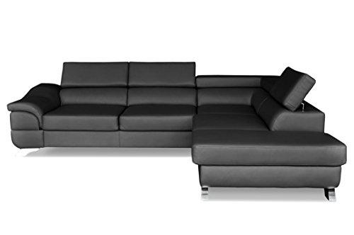 Windsor & Co Droit Convertible Canapé d'Angle, Tissu, Gris Foncé, 272 x 219 x 85 cm