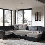 Canapé d'angle convertible en U noir et gris ALTOR couchage 2 personnes