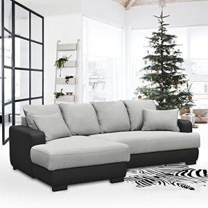 Sofa Fanilife Canapé d'angle Gauche Convertible Rangement Structure en Tissu Inclus 2 Coussins de Décoration 233 x 147 x 83 CM