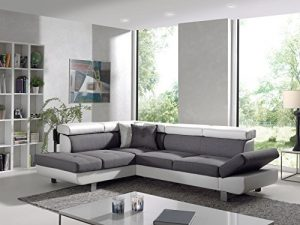 Bestmobilier – Lisbona – Canapé d'angle Gauche Convertible – L 252 x P 190cm Couleur – Blanc/Gris