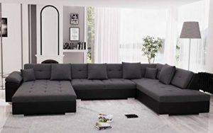Bestmobilier – Belmont – Canapé d'angle panoramique XXL en U – en Simili et Tissu – Droit