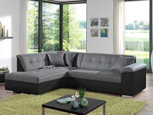 Bestmobilier – Colombia – Canapé d'angle Convertible – Bicolore – en Simili et Tissu – Gauche