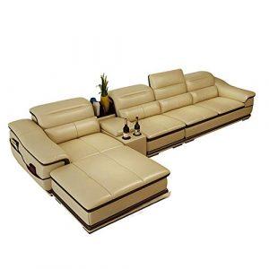 DNNAL Canapé en Cuir Suite de en Cuir inclinable Canapé Suite en Forme de L avec très Grand Salon Lounge Chair
