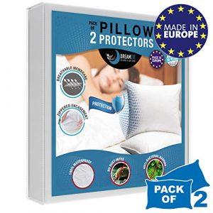 Dreamzie – Lot de 2 Protege Oreillers Impermeables (40 x 70 cm) – Oeko-TEX – Respirant, Hypoallergénique, Anti-Acarien, Anti-Bactérien – Protection Oreiller avec Traitement Bi-Ome