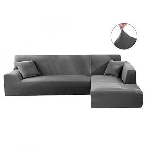 Housse de Canapé d'angle Extensible Polyester Spandex Couvereture de Protection Salon Élastique Anti-poussière Couvre pour Canapé en L (3+4 Places séparés, Gris)