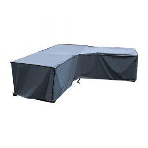 Housse de protection Canapé d'Angle | 210 x 270 x 85 x 65/90 (L x L x H) | Gris | Résistant à L'eau | SORARA | Polyester & Revêtement PU | Pour Jardin, Terrasse, Meubles | Qualité