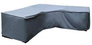 Housse de protection Canapé d'Angle | 300 x 300 x 98 x 70 cm (L x L x H) | Gris | Résistant à L'eau | SORARA | Polyester & Revêtement PU | Pour Jardin, Terrasse, Meubles | Qualité