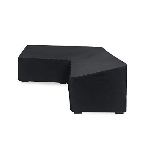 Linkooler Housses de canapé d'angle en rotin pour Meubles de Jardin en Forme de L côté Gauche Extra Large Noir