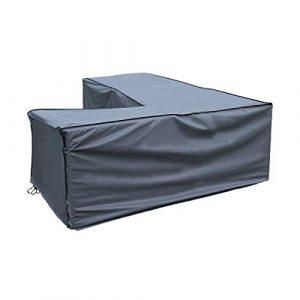 sorara–Housse pour canapé d'angle | Gris | 235x 235x 70/100cm (L x W x H) | imperméable | Polyester & Revêtement PU | pour mobilier de jardin