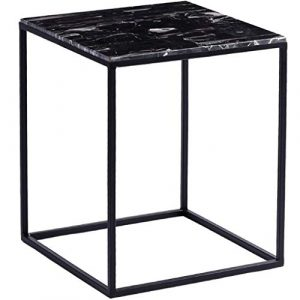 Table D'Appoint Carrée Table D'Appoint Carrée en Fer Forgé Table à Thé Panneau en Marbre Processus de Peinture Pour le Salon Noir, BOSS LV
