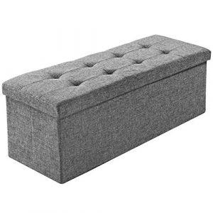 TecTake Tabouret pliant banc pouf dé pliable coffre siège de rangement boîte 110x38x38cm – diverses couleurs au choix – (gris clair | No. 402239)