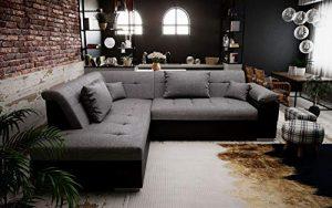 tendencio Canapé d'angle Convertible LITO Design avec lit – Tissu et Simili Cuir (Gris et Noir)