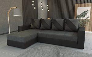 tendencio Canapé d'angle Convertible Huli (Gris foncé/Noir)