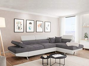 Usinestreet Rio Canapé d'Angle Droit Convertible Tissu Blanc/Gris 295 x 205 x 75 cm