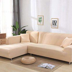 YANJHJY Gris/Solide Couleur 1 pièce / 2 pièces Housse de canapé, pour canapé en Forme de L canapé d'angle canapé Serviette Housse de canapé pour Meubles fauteuils, Couleur 6,3, Places 190,230cm
