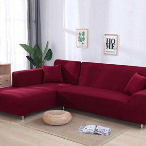 YANJHJY Housse de canapé 1 pièce / 2 pièces Gris/Solide, pour canapé sectionnel en Forme de L Housse de canapé pour canapé d'angle pour fauteuils de Meubles, Couleur 3,1 Places et 3 Places