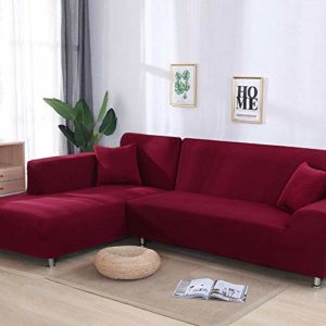 YANJHJY Housse de canapé 1 pièce / 2 pièces Gris/Solide, pour canapé sectionnel en Forme de L, Housse de canapé pour canapé d'angle pour fauteuils de Meubles, Couleur 3,3, Assise 190,230 cm