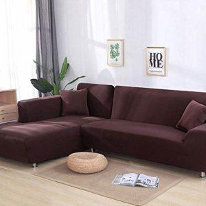 YANJHJY Housse de canapé 1 pièce / 2 pièces Gris/Solide, pour canapé sectionnel en Forme de L, Housse de canapé pour canapé d'angle pour fauteuils de Meubles, Couleur 5,4, Places 235300 cm