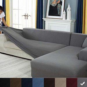 YJOY Housse de Canapé d'angle avec Accoudoirs Housse de Canapé Modèle L Canapé Protecteur Extensible