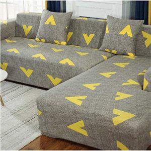 Housse de canapé élastique vide pour canapé d'angle de salon, l'ensemble du colis 1/2/3/4 – Motif flèche, (3-seater + 3-seater)