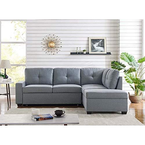 Mobilier Deco Canapé D'Angle avec Coffre De Rangement Convertible en Tissu Gris – Angle Droit – Denver
