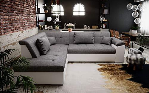 tendencio Canapé d'angle Convertible LITO Design avec lit – Tissu et Simili Cuir (Gris et Blanc)