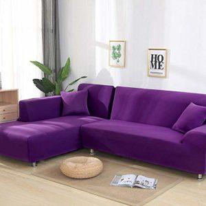 xrglz Housse de canapé 3 Places, Housse de canapé élastique, Housse de Fauteuil en L de Salon, Housse de Protection Tout Compris-Purple_3-Seater_190-230cm