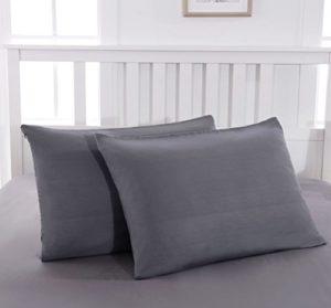 Mohap Lot de 2- Taies d'oreiller Gris 50x70cm Housse d'oreiller avec Une Fermeture Eclair en Microfibre