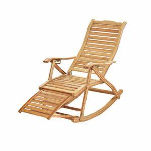 N / A Bamboo Rocking ChairChaise Pliante, Chaise a Bascule en Bambou Extérieure Réglable avec Massage des Pieds, Chaise Pliante de Loisirs Zéro Gravité