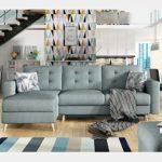 NOUVOMEUBLE Canapé d'angle Bleu en Tissu Convertible Asuka