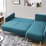 Bobochic – MIA – Canapé d'angle Convertible scandinave – avec Coffre – 4 Places – Droit