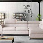 E-MEUBLES Canapé d'angle en lit Convertible avec Coffre 4/5 Places – en Tissu – Salon & séjour – Cyrus (Gris (Soro 83), Canapé d'angle Droit)
