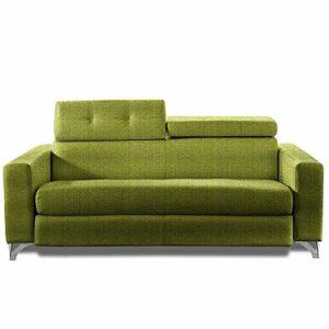 Canapé Convertible SUÈDE 140cm Ouverture RAPIDO sommier Lattes RENATONISI Matelas 14cm Tissu Tweed Vert