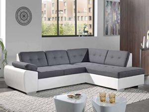 Bestmobilier – Dakota – Canapé d'angle Convertible – en Simili et Tissu – Droit