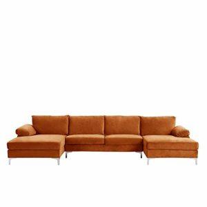 BHDesign Amanda XL – Canapé d'angle PANORAMIQUE Xtra Large – Moderne – Velours – Coloris Orange