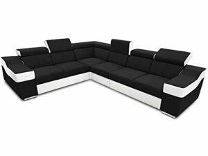Don Baraton Canapé d'angle 6 places avec repose-tête et dossiers, réversible – Grenoble (noir avec blanc, tissu avec cuir synthétique)