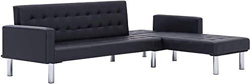 En forme de L canapé-lit convertible | séjour Canapé-lit | 2 Position Canapé d'angle réglable,Black