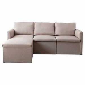 SANGDA Canapé d'angle 3 places en forme de L – En tissu imitation lin – Canapé convertible – Pour chambre d'adulte, bureau, salle de réception