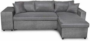 Canapé d'angle, convertible, microfibre, avec une boîte et un banc de siège, avec boîte de rangement, gauche,A
