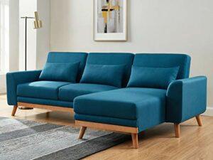 HOMIFAB Canapé d'angle scandinave Convertible en Tissu Bleu avec Couchage 110x210cm – Collection Mathis