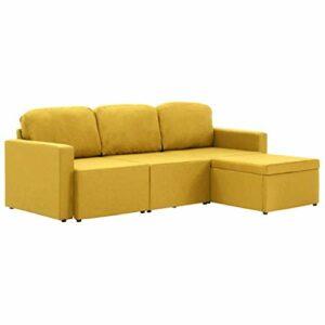 pedkit Canapé Lit Modulaire 3 Places Convertible Canapé Sectionnel Canapé d'angle Jaune Tissu