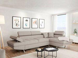 UsineStreet Canapé d'angle Droit Rio Convertible avec Coffre Beige