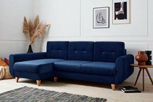 Bestmobilier – Britta – Canapé d'angle Convertible – avec Coffre – 4 Places – Gauche