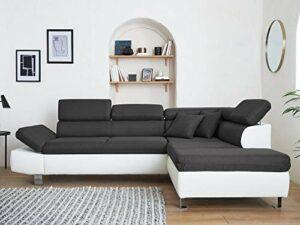 Lisa Design – Nairobi – Canapé d'angle Convertible – en Simili et Tissu – 5 Places – avec têtières – Droit