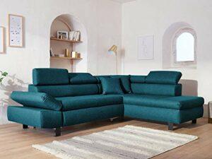 Lisa Design – Nairobi – Canapé d'angle Convertible – en Tissu – 5 Places – avec têtières – Droit