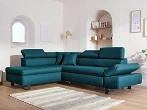 Lisa Design – Nairobi – Canapé d'angle Convertible – en Tissu – 5 Places – avec têtières – Gauche