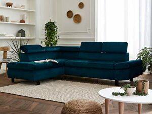 Lisa Design – Nairobi – Canapé d'angle Convertible – en Velours – 5 Places – avec têtières – Gauche
