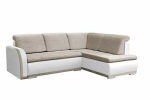 MEUBLO Canapé d'angle Convertibles 3 Places Tissu + Simili Cuir Vero II (Beige + Blanc, Canapé d'angle Droit)