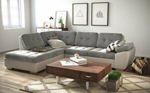 tendencio Canapé d'angle Convertible en lit GALIS – Assise en Tissu et Contour en Simili Cuir (Gris et Blanc, Angle Gauche)